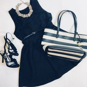 Ribbed and belted fit and flare dress